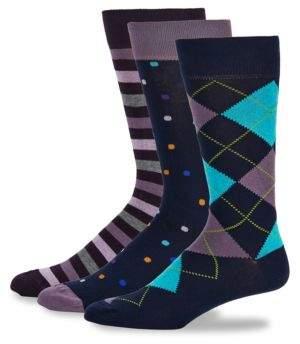 Saks Fifth Avenue Three-Pack Fashion Crew Socks