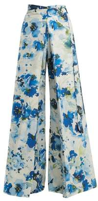 By. Bonnie Young - Floral Print Wide Leg Cotton Blend Wrap Trousers - Womens - Blue Print