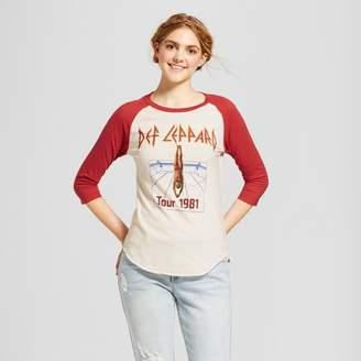 Def Leppard Women's Def Leppard 3/4 Sleeve Raglan Graphic T-Shirt (Juniors') White/Red