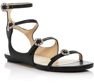 Jimmy Choo Women's Naia Embellished Leather Flat Sandals