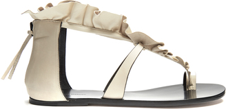 ISABEL MARANT Audry ruffle-trimmed flat leather sandals $645 thestylecure.com