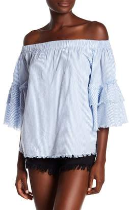 Elan International Frayed Off-the-Shoulder Top