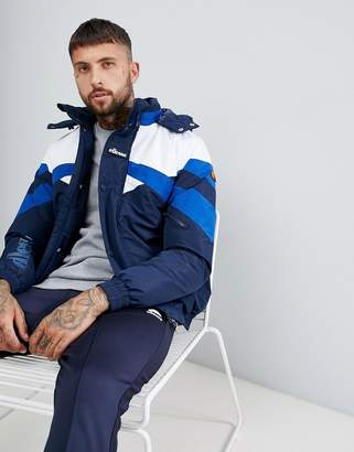 Ellesse Meo chevron jacket with hood in navy
