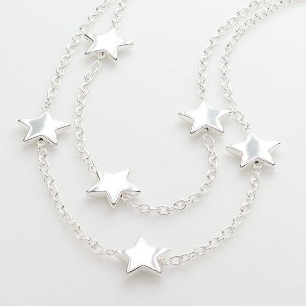 Abbey Dawn Silver-Tone Multistrand Star Necklace
