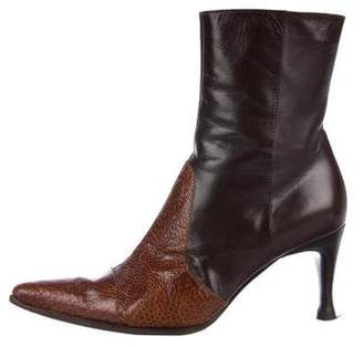 Sergio Rossi Ostrich Leg Ankle Boots