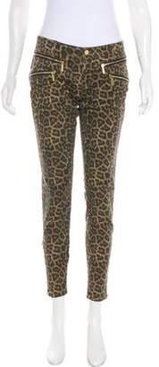 Michael Kors Leopard Print Mid-Rise Jeans