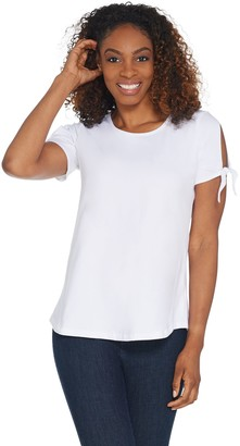 Women With Control Women with Control Curved Hem T-Shirt w/ Tie Sleeve Detail