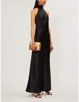 Galvan Sienna sleeveless high-neck satin gown