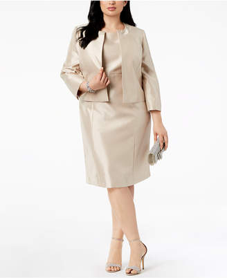 Le Suit Plus Size Open-Front Dress Suit