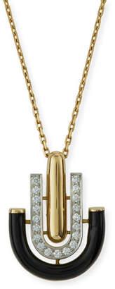 "David Webb Motif"" Black Enamel & Diamond Unity Pendant Necklace"