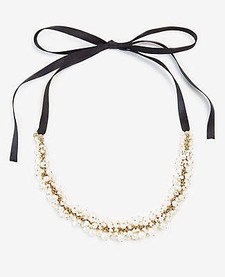 Ann Taylor Pearlized Cluster Ribbon Necklace