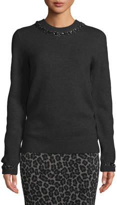 Michael Kors Crystalized-Necklace Crewneck Cashmere-Blend Sweatshirt