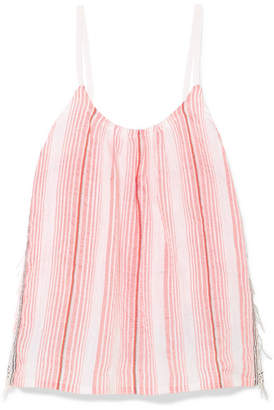 Lemlem Tereza Fringed Striped Cotton-blend Gauze Top