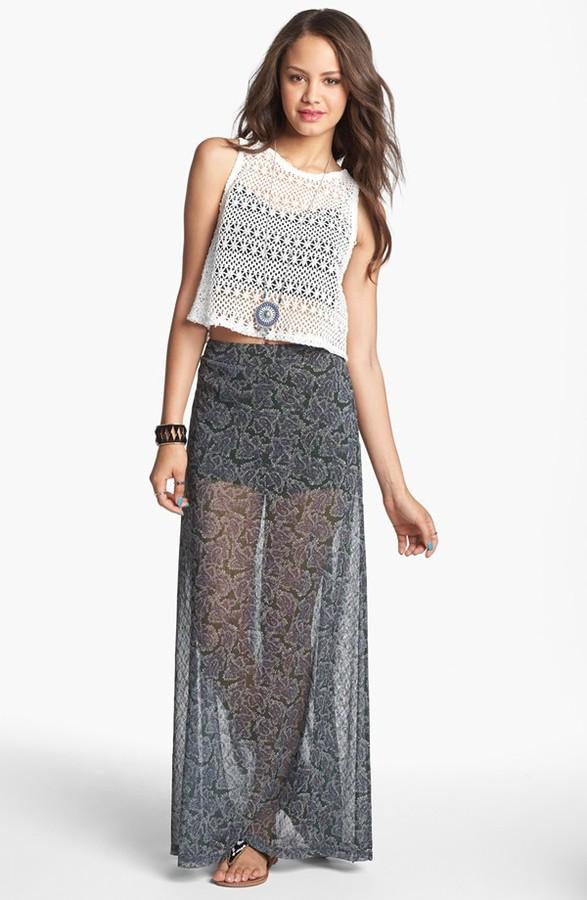 Mimichica Mimi Chica Print Sheer Maxi Skirt with Shorts (Juniors)