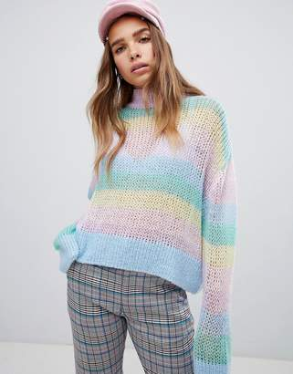 Lazy Oaf pastel rainbow stripe fine knit sweater