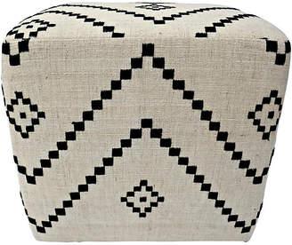 One Kings Lane Vintage India Organic Hand-Spun Wool Ottoman