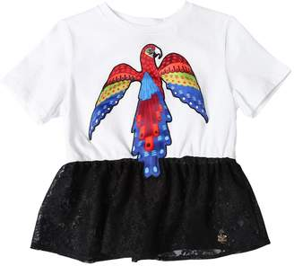 Leitmotiv Parrot Patch Jersey & Lace T-Shirt