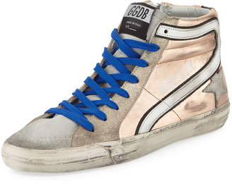 Golden Goose Slide Metallic Leather High-Top Sneaker