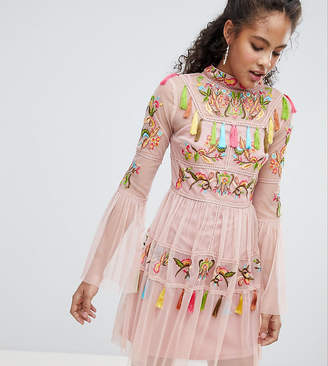 Frock And Frill Tall Folk Embroidered Tassel Skater Dress