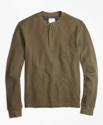 Brooks Brothers Waffle-Knit Cotton Henley