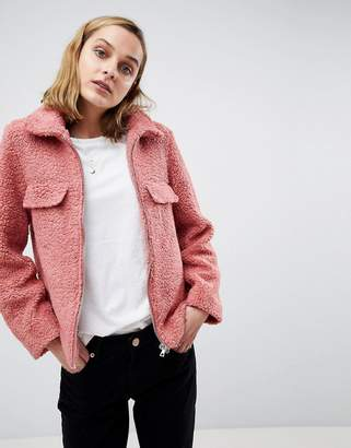 Moss Copenhagen Teddy Coat With Zip Front