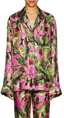 Dolce & Gabbana Women's Fig-Print Silk Pajama Top