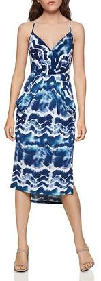 BCBGeneration Tie-Dye Surplice Midi Dress