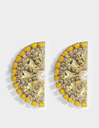Anton Heunis Lemon Slice Earrings in Yellow and Gold Metal
