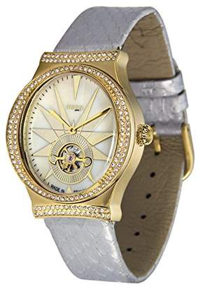 Swarovski Moog Paris Open Hearth Women's Watch with Ivory Dial, Genuine Leather Strap & Elements - M45242-003