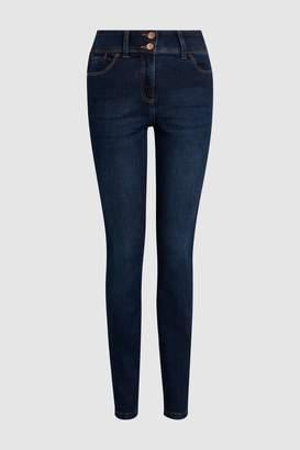 Next Womens Mid Blue Hem Detail Enhancer Skinny Jeans