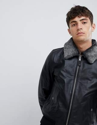 Schott leather flight jacket with detachable faux fur collar in slim fit in black