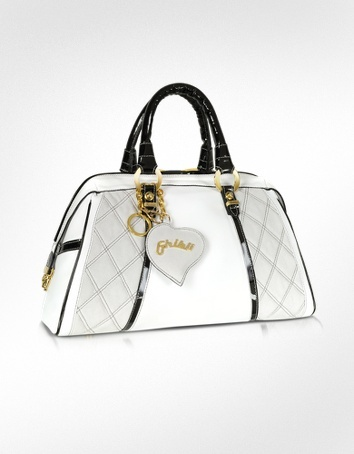 Ghibli Quilted White & Black Leather Trim Bauletto Bag