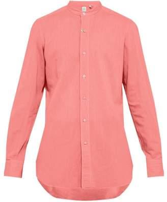 Finamore 1925 - Gaeta Band Collar Cotton Chambray Shirt - Mens - Red