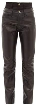Aries Double Waistband Faux Leather Trousers - Womens - Black