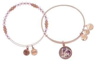 Alex and Ani Art Infusion Love Charm Expandable Wire Bracelet - Set of 2