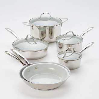 Food Network 10-pc. Nonstick Stainless Steel Ceramic Cookware Set