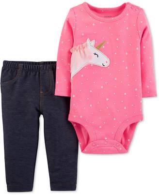 Carter's Baby Girls 2-Pc. Unicorn Bodysuit & Pants Set