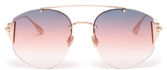 Christian Dior Diorstronger Round Frame Sunglasses - Womens - Pink