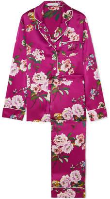 Olivia von Halle Lila Floral-print Silk-satin Pajama Set - Magenta