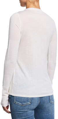 Elie Tahari Tali Crewneck Long-Sleeve Merino Wool Sweater with Mesh Inset