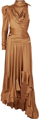 Zimmermann Valiant Open-back Ruffled Satin Maxi Dress - Bronze