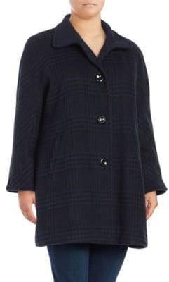 Ellen Tracy Plus Textured Long Sleeve Coat