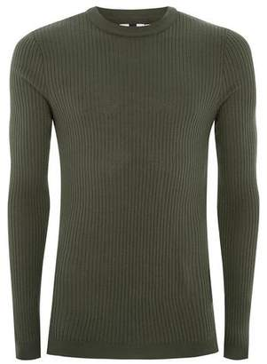 Topman Mens Green Khaki Muscle Ribbed Knit