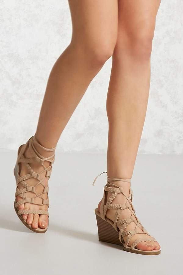 FOREVER 21 Faux Suede Braided Wedges