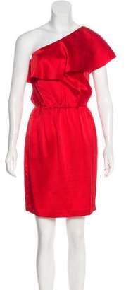 Halston Silk One-Shoulder Dress
