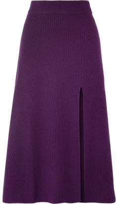 Altuzarra Calvin Ribbed Cashmere Midi Skirt - Dark purple