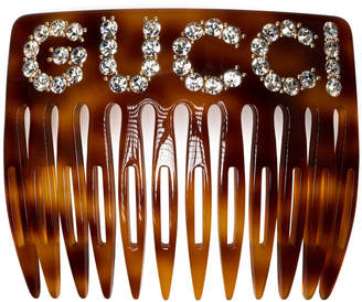 Gucci brown crystal logo hair comb