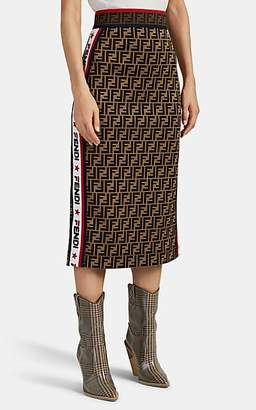 Fendi Women's Logo-Jacquard Pencil Skirt - Brown