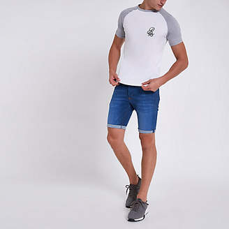 River Island Mid blue skinny rolled hem denim shorts