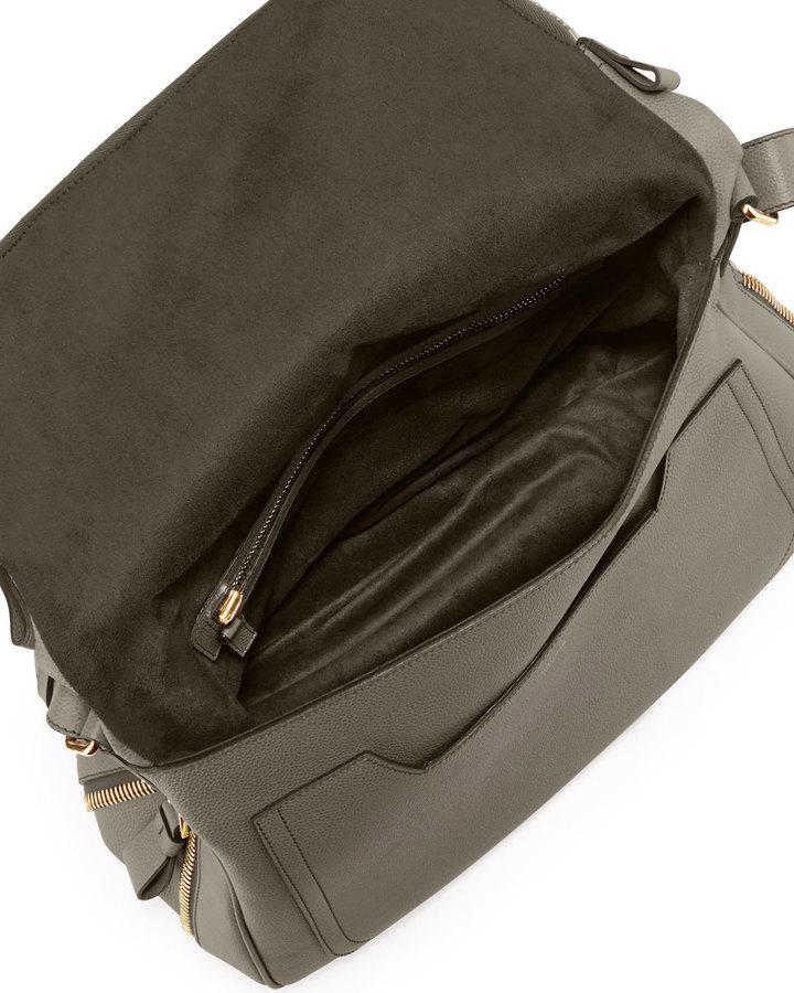 Tom Ford Jennifer Large Leather Shoulder Bag, Graphite